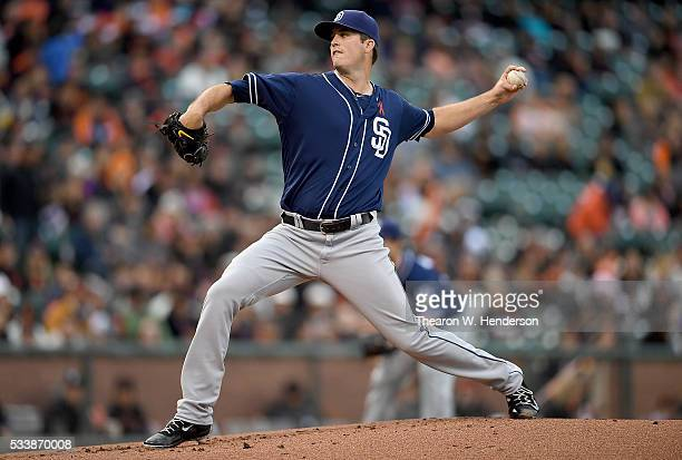 Drew Pomeranz of the San Diego Padres pitches against the San Francisco Giants in the bottom of the first inning at ATT Park on May 23 2016 in San...