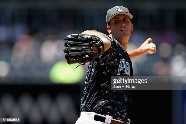 Drew Pomeranz of the San Diego Padres pitches during the first inning of a baseball game against the Washington Nationals at PETCO Park on June 19...