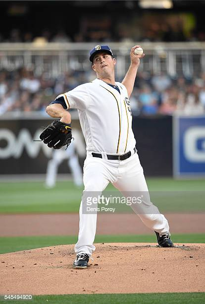 Drew Pomeranz of the San Diego Padres pitches during the first inning of a baseball game against the New York Yankees at PETCO Park on July 2 2016 in...