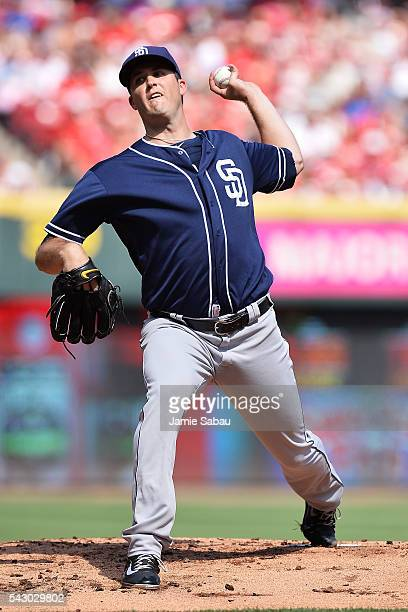 Drew Pomeranz of the San Diego Padres pitches in the first inning against the Cincinnati Reds at Great American Ball Park on June 25 2016 in...