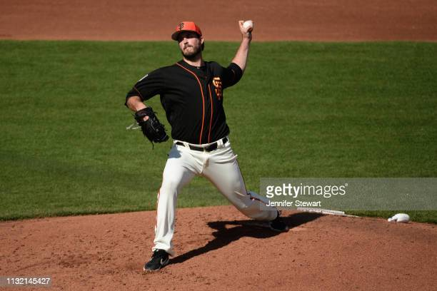 Drew Pomeranz of the San Francisco Giants delivers a pitch during the spring game against the Chicago White Sox at Scottsdale Stadium on February 25...