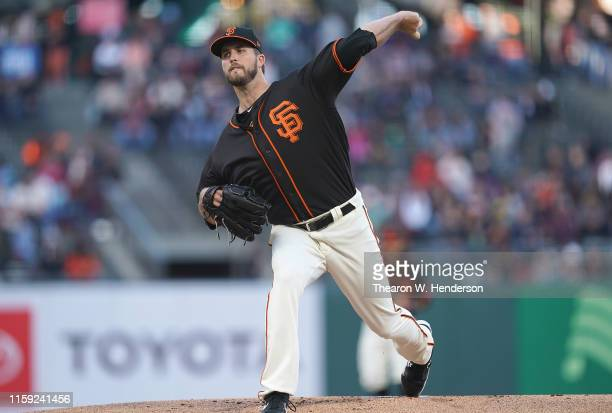 Drew Pomeranz of the San Francisco Giants pitches against the Arizona Diamondbacks in the top of the first inning of a Major League Baseball game at...