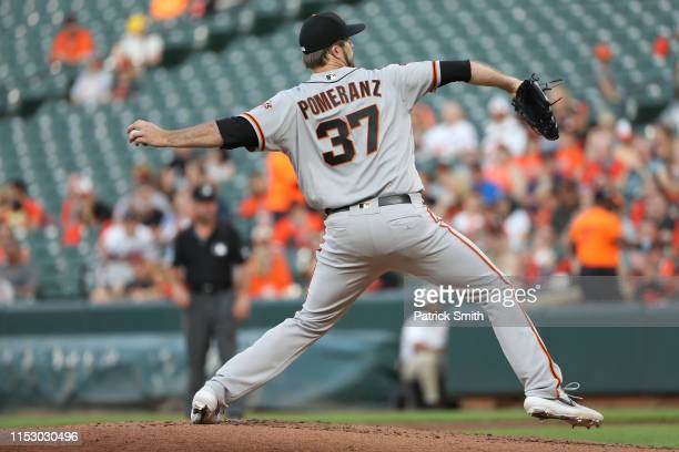 Drew Pomeranz of the San Francisco Giants pitches against the Baltimore Orioles at Oriole Park at Camden Yards on May 31 2019 in Baltimore Maryland