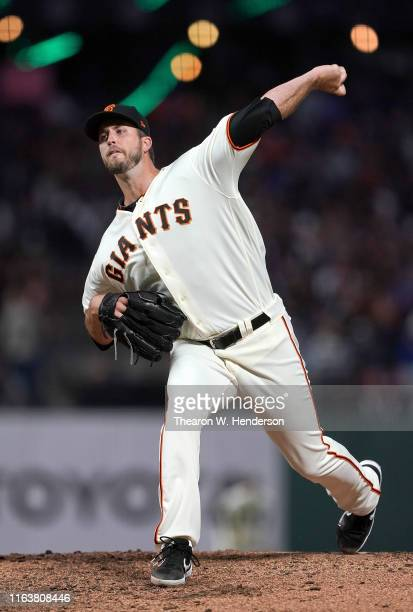 Drew Pomeranz of the San Francisco Giants pitches against the Chicago Cubs in the top of the seventh inning at Oracle Park on July 22 2019 in San...