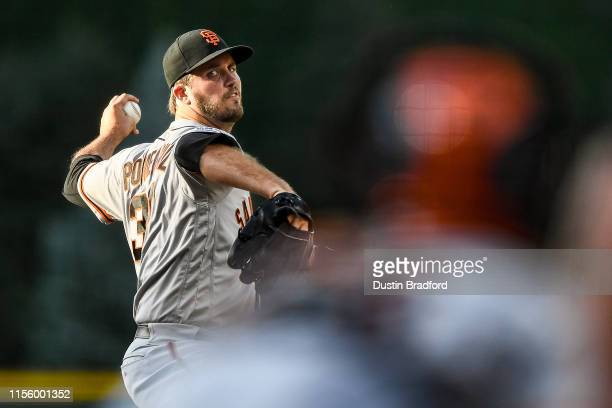 Drew Pomeranz of the San Francisco Giants pitches against the Colorado Rockies in the first inning of a game at Coors Field on July 16 2019 in Denver...