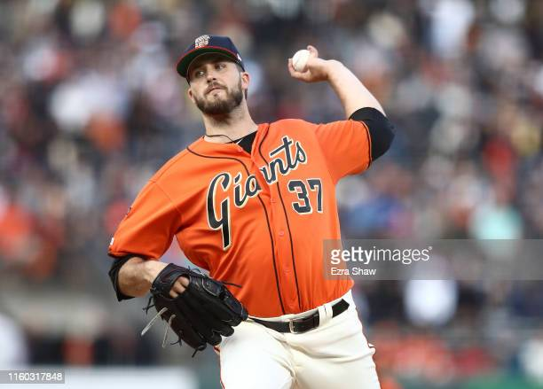 Drew Pomeranz of the San Francisco Giants pitches against the St Louis Cardinals in the first inning at Oracle Park on July 05 2019 in San Francisco...