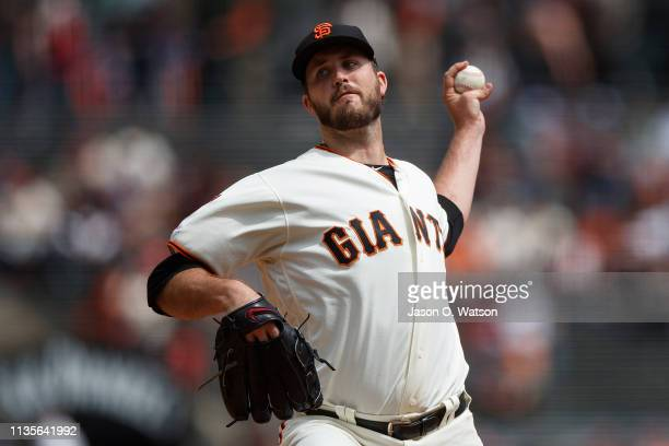 Drew Pomeranz of the San Francisco Giants pitches against the Tampa Bay Rays during the first inning at Oracle Park on April 7 2019 in San Francisco...