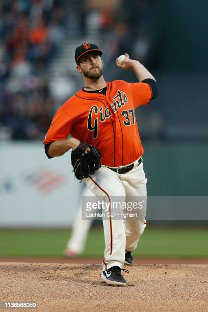 Drew Pomeranz of the San Francisco Giants pitches in the top of the first inning against the Colorado Rockies at Oracle Park on April 12 2019 in San...