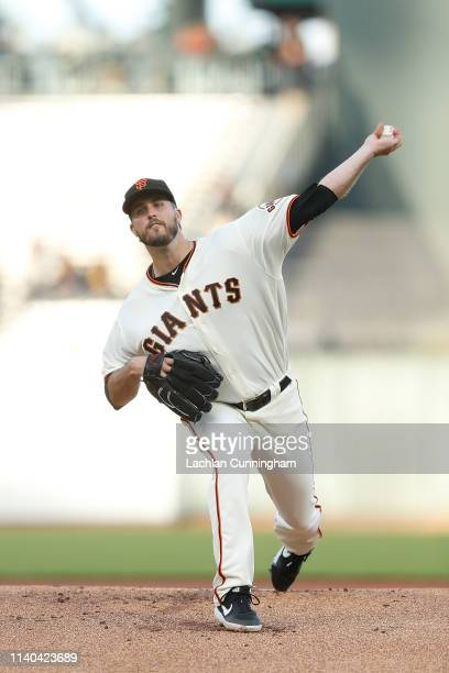 Drew Pomeranz of the San Francisco Giants pitches in the top of the first inning against the Los Angeles Dodgers at Oracle Park on April 30 2019 in...