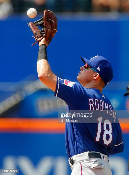 Drew Robinson of the Texas Rangers in action against the New York Mets at Citi Field on August 9 2017 in the Flushing neighborhood of the Queens...