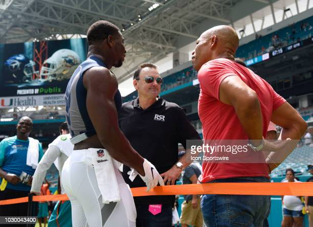 Drew Rosenhaus speaks to people before the game between the Miami Dolphins and Tennessee Titans on Sunday, September 9, 2018 at Hard Rock Stadium in...