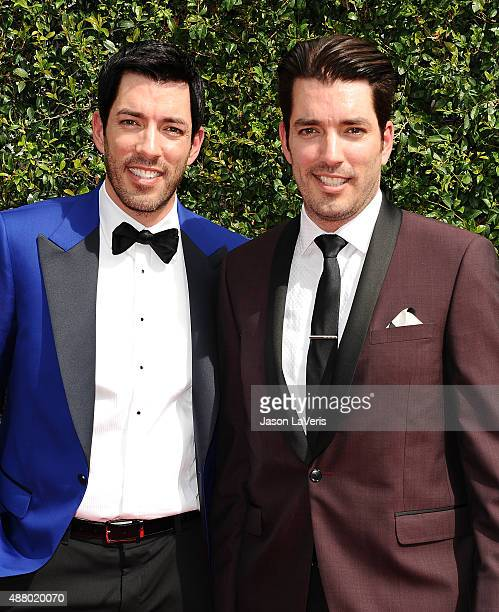 Drew Scott and Jonathan Scott attend the 2015 Creative Arts Emmy Awards at Microsoft Theater on September 12 2015 in Los Angeles California