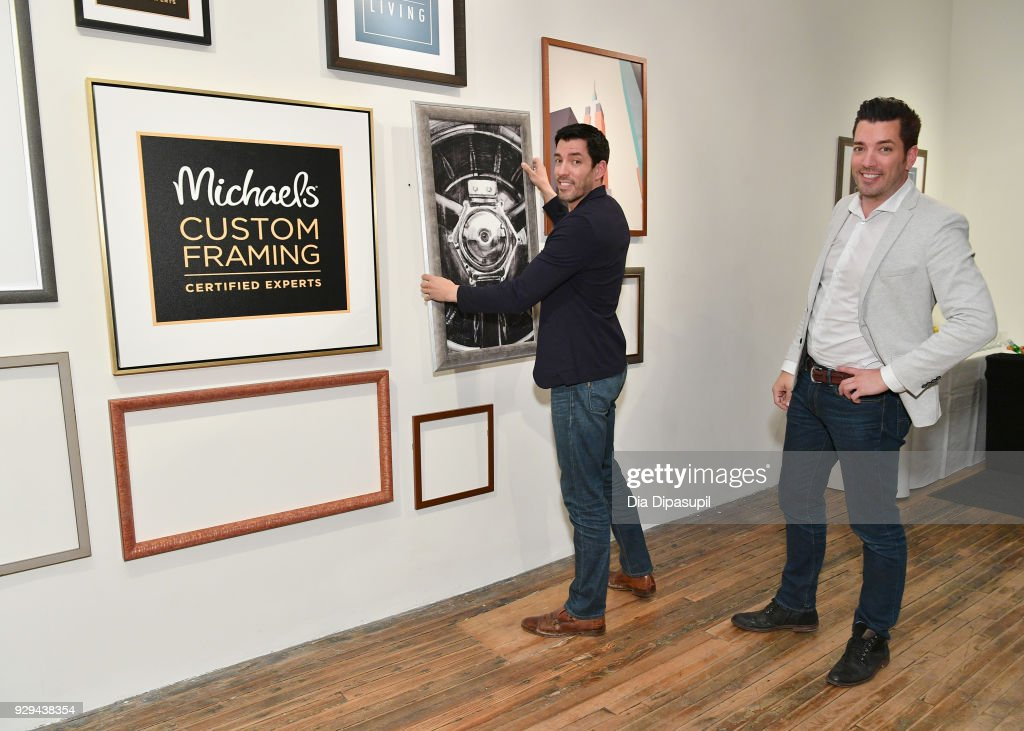 Drew Scott and Jonathan Scott celebrate the launch of their first custom framing program, Scott Living, available exclusively at Michaels on March 8, 2018 in New York City.