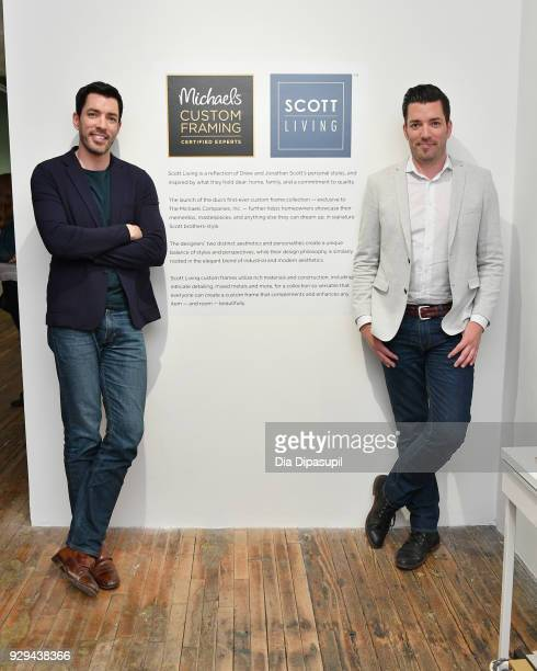 Drew Scott and Jonathan Scott celebrate the launch of their first custom framing program Scott Living available exclusively at Michaels on March 8...