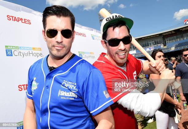 Drew Scott and Jonathan Scott of TV show Property Brothers arrive at the 27th Annual City of Hope Celebrity Softball Game at First Tennessee Park on...