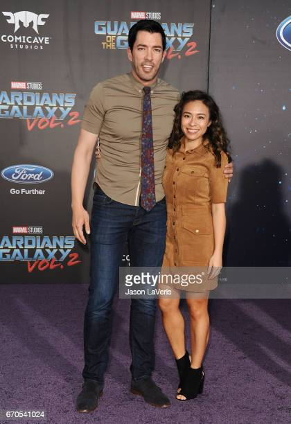 Drew Scott and Linda Phan attend the premiere of 'Guardians of the Galaxy Vol 2' at Dolby Theatre on April 19 2017 in Hollywood California