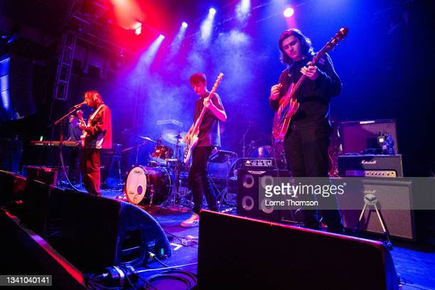 Drew Selby, Ollie Appleby and Euan Mail of Rosellas perform at O2 Academy Islington on September 17, 2021 in London, England.