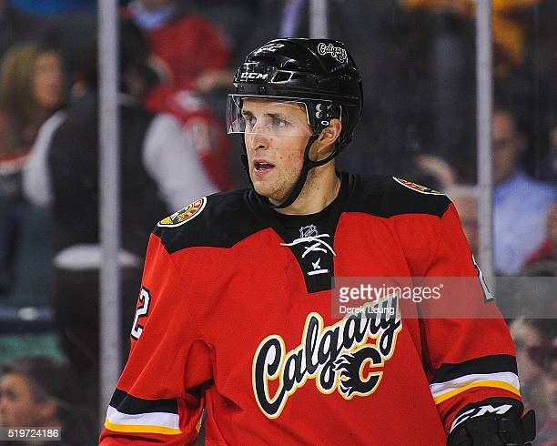 Drew Shore of the Calgary Flames in action against the Vancouver Canucks during an NHL game at Scotiabank Saddledome on April 7 2016 in Calgary...