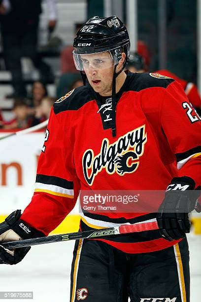 Drew Shore of the Calgary Flames skates before an NHL game against the Vancouver Canucks on April 7 2016 at the Scotiabank Saddledome in Calgary...