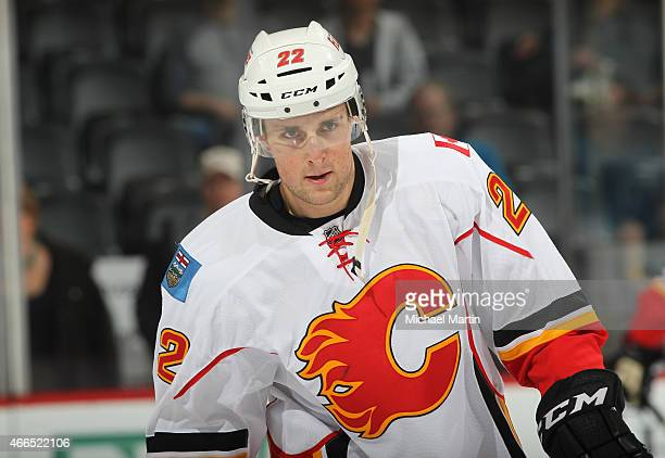 Drew Shore of the Calgary Flames skates prior to the game against the Colorado Avalanche at the Pepsi Center on March 14 2015 in Denver Colorado