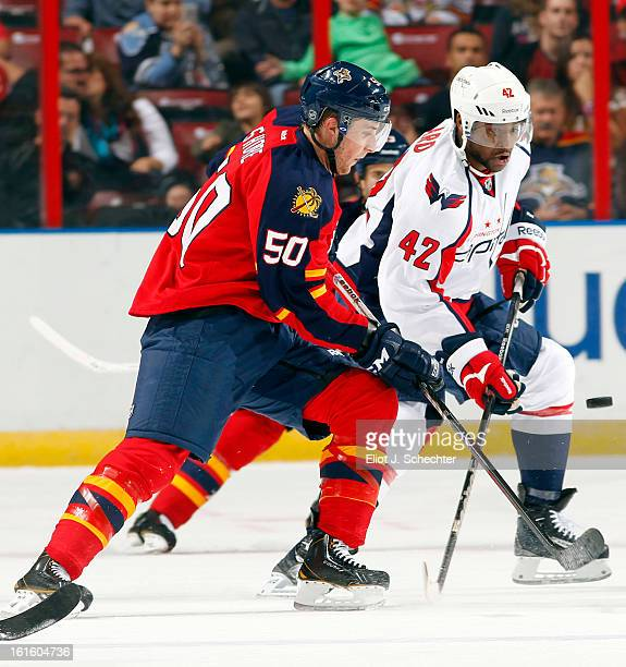 Drew Shore of the Florida Panthers crosses sticks with Joel Ward of the Washington Capitals at the BBT Center on February 12 2013 in Sunrise Florida