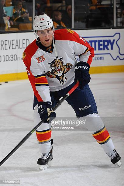 Drew Shore of the Florida Panthers during warms up before the game against the Boston Bruins at the TD Garden on January 28 2014 in Boston...