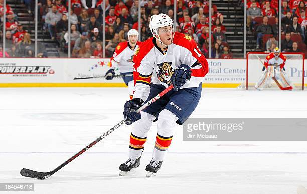 Drew Shore of the Florida Panthers in action against the New Jersey Devils at the Prudential Center on March 23 2013 in Newark New Jersey The Devils...