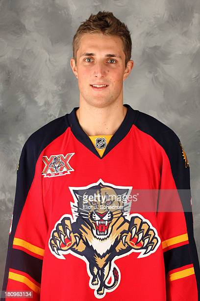 Drew Shore of the Florida Panthers poses for his official headshot for the 20132014 NHL season on September 11 2013 in Sunrise Florida