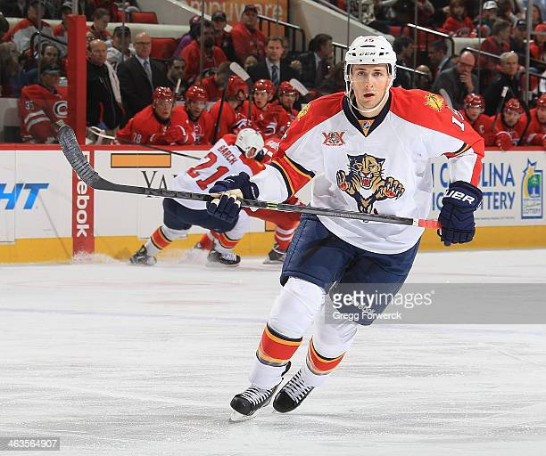 Drew Shore of the Florida Panthers saktes down the ice during an NHL game against the Carolina Hurricanes at PNC Arena on January 18 2014 in Raleigh...
