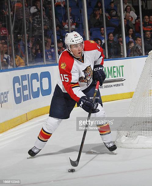 Drew Shore of the Florida Panthers skates against the New York Islanders at the Nassau Veterans Memorial Coliseum on April 16 2013 in Uniondale New...