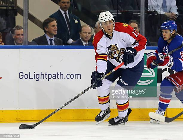 Drew Shore of the Florida Panthers skates against the New York Rangers at Madison Square Garden on April 18 2013 in New York City The Rangers...