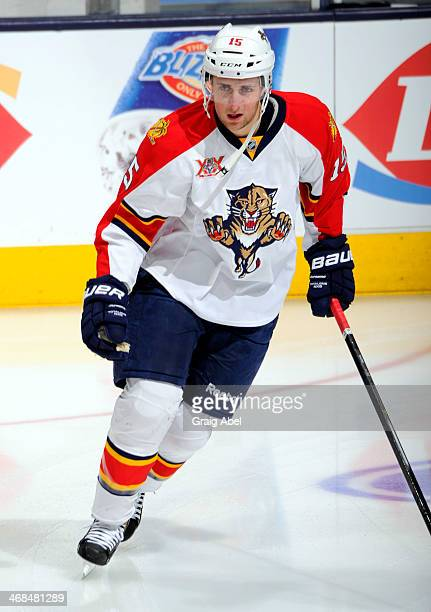 Drew Shore of the Florida Panthers skates during warmup during NHL game action against the Toronto Maple Leafs January 30 2014 at the Air Canada...
