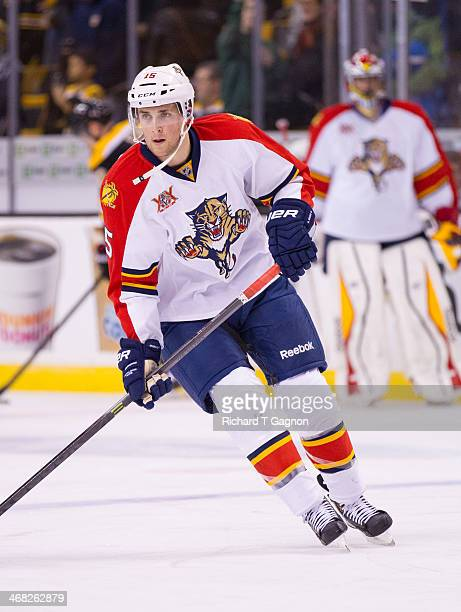 Drew Shore of the Florida Panthers skates during warmups before an NHL hockey game against the Boston Bruins on January 28 2014 at TD Garden in...