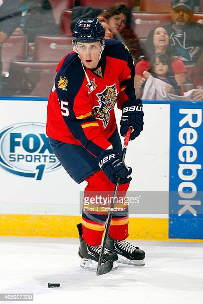 Drew Shore of the Florida Panthers skates on the ice prior to the start of the game against the San Jose Sharks at the BBT Center on January 16 2014...