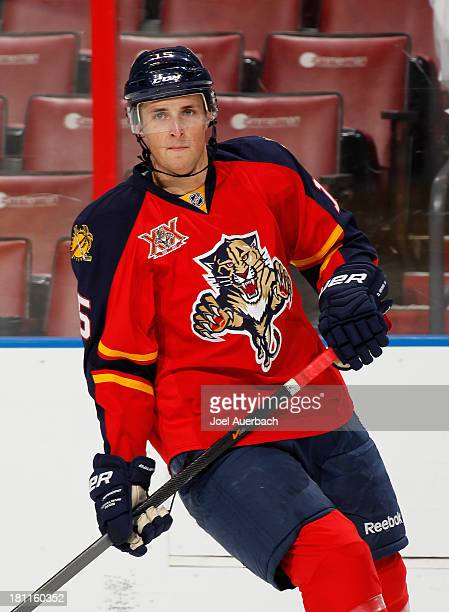 Drew Shore of the Florida Panthers skates prior to the game against the Nashville Predators during a preseason game at the BBT Center on September 16...