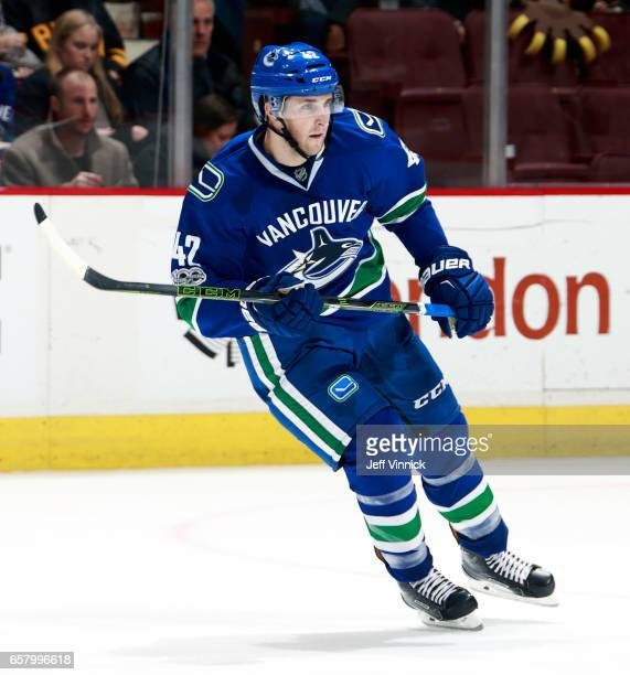 Drew Shore of the Vancouver Canucks skates up ice during their NHL game against the Boston Bruins at Rogers Arena March 13 2017 in Vancouver British...