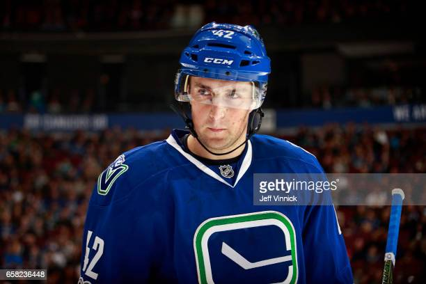 Drew Shore of the Vancouver Canucks skates up ice during their NHL game against the Dallas Stars at Rogers Arena March 16 2017 in Vancouver British...