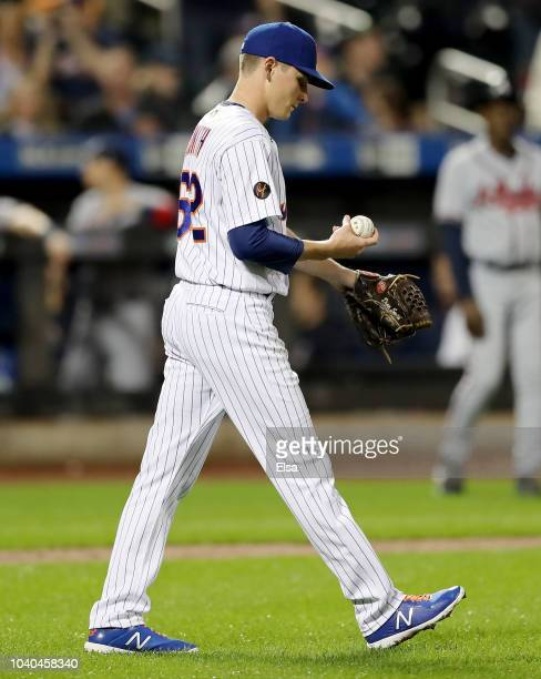 Drew Smith of the New York Mets reacts in the seventh inning against the Atlanta Braves on September 252018 at Citi Field in the Flushing...