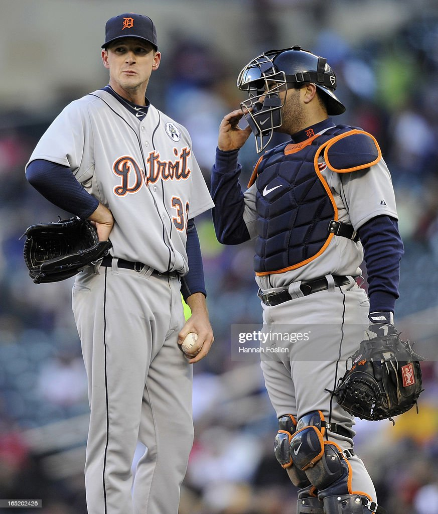 Drew Smyly #33 and Alex Avila #13 of the Detroit Tigers wait on the mound of Jim Leyland #10 during the seventh inning of the Opening Day game against the Minnesota Twins on April 1, 2013 at Target Field in Minneapolis, Minnesota. The Tigers defeated the Twins 4-2.