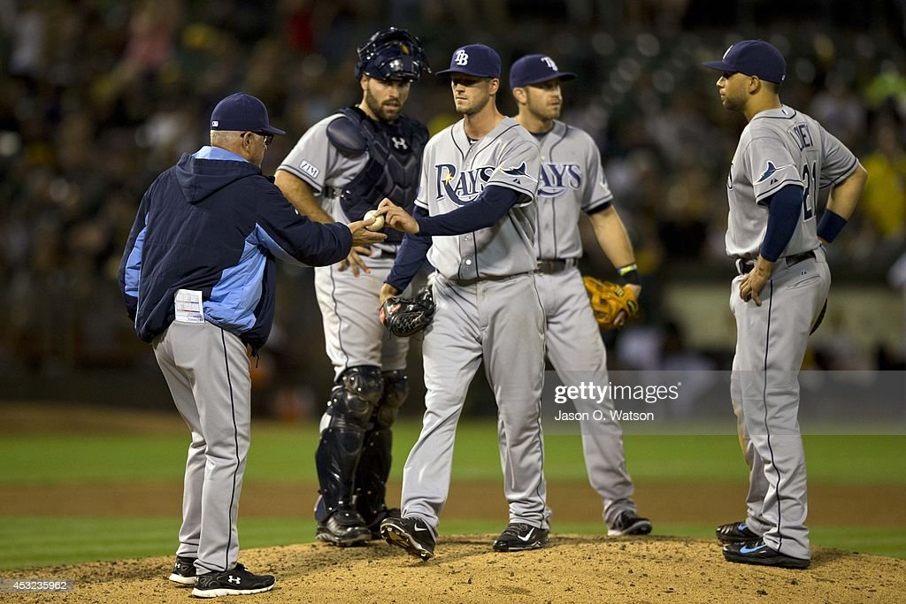 Drew Smyly #33 of the Tampa Bay Rays is relieved by manager Joe Maddon #70 during the sixth inning against the Oakland Athletics at O.co Coliseum on August 5, 2014 in Oakland, California.