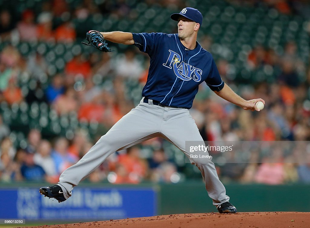 Drew Smyly #33 of the Tampa Bay Rays pitches in the first inning against the Houston Astros at Minute Maid Park on August 26, 2016 in Houston, Texas.