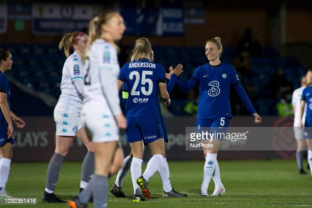 Drew Spence celebrates after scoring during the 2020-21 FA Womens Cup fixture between Chelsea FC and London City at Kingsmeadow on April 16, 2021 in...