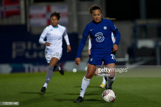 Drew Spence controls the ball during the 2020-21 FA Womens Cup fixture between Chelsea FC and London City at Kingsmeadow on April 16, 2021 in...