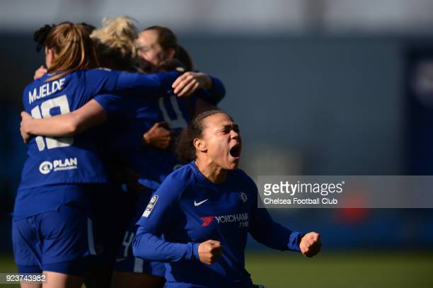 Drew Spence of Chelsea celebrates after team mate Millie Bright of Chelsea scores to make it 10 during a WSL match between Chelsea Ladies and...