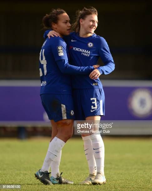 Drew Spence of Chelsea celebrates with team mate Hannah Blundell after scoring to make it 30 during a FA Women's Cup 5th Round match between Chelsea...