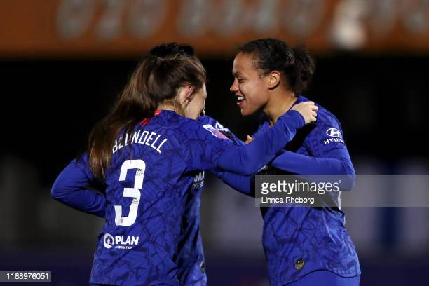 Drew Spence of Chelsea celebrates with teammate Hannah Blundell after scoring her team's first goal during the FA Women's Continental League Cup game...
