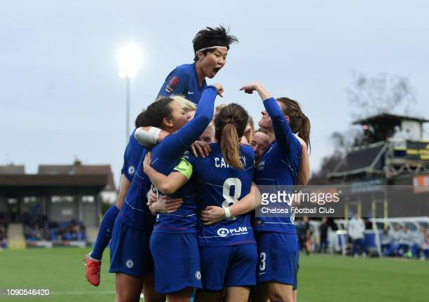 Drew Spence of Chelsea celebrates with teammates after scoring her team's second goal during the FA Women's Super League match between Chelsea Women...