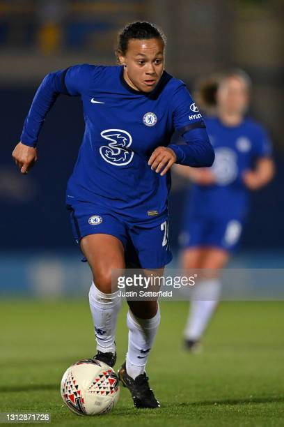 Drew Spence of Chelsea during the Vitality Women's FA Cup Fourth Round match between Chelsea v London City Lionesses at Kingsmeadow on April 16, 2021...