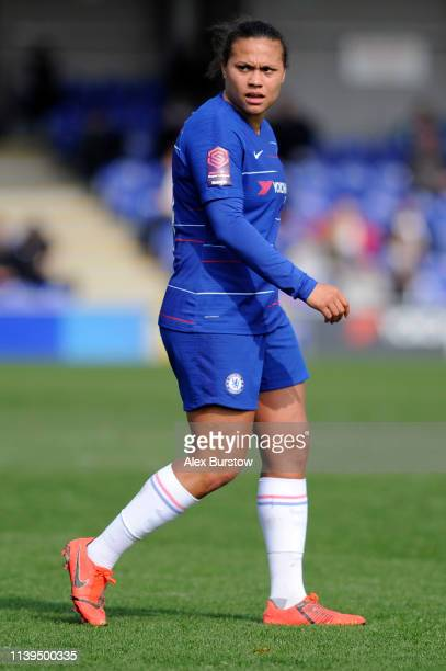 Drew Spence of Chelsea looks on during the FA Women's Super League match between Chelsea Women and West Ham United Women at Kingsmeadow on March 31...