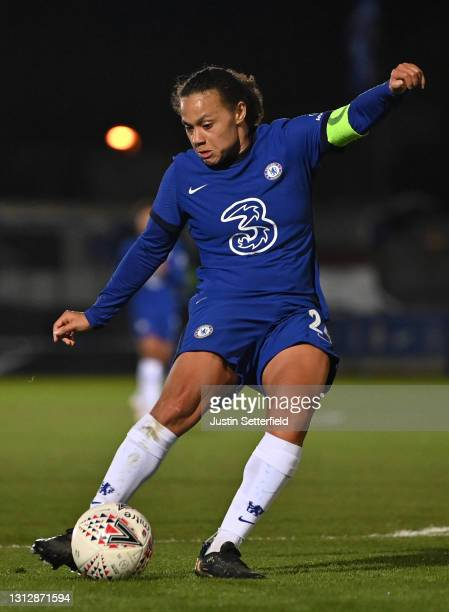 Drew Spence of Chelsea scores the fifth Chelsea goal during the Vitality Women's FA Cup Fourth Round match between Chelsea v London City Lionesses at...